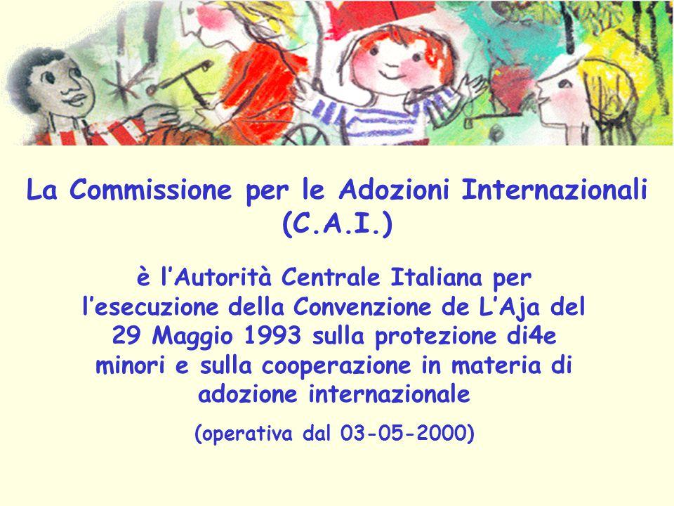 La Commissione per le Adozioni Internazionali (C.A.I.) è l'Autorità Centrale Italiana per l'esecuzione della Convenzione de L'Aja del 29 Maggio 1993 sulla protezione di4e minori e sulla cooperazione in materia di adozione internazionale (operativa dal 03-05-2000)