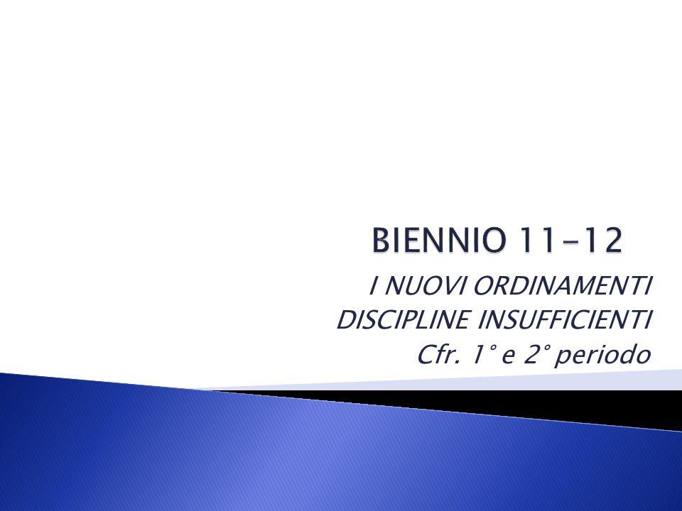 I NUOVI ORDINAMENTI DISCIPLINE INSUFFICIENTI Cfr. 1° e 2° periodo