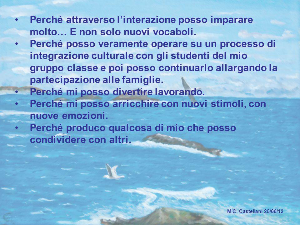 M.C. Castellani 25/06/12 Perché attraverso l'interazione posso imparare molto… E non solo nuovi vocaboli. Perché posso veramente operare su un process