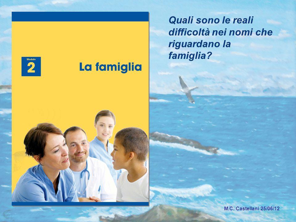 Quali sono le reali difficoltà nei nomi che riguardano la famiglia M.C. Castellani 25/06/12