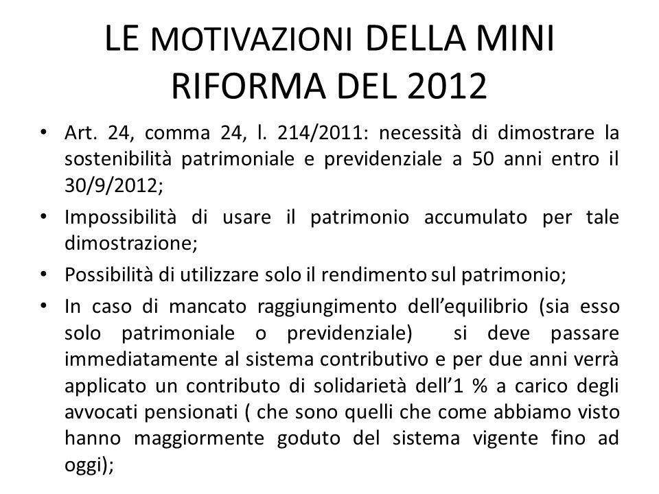 LE MOTIVAZIONI DELLA MINI RIFORMA DEL 2012 Art.24, comma 24, l.