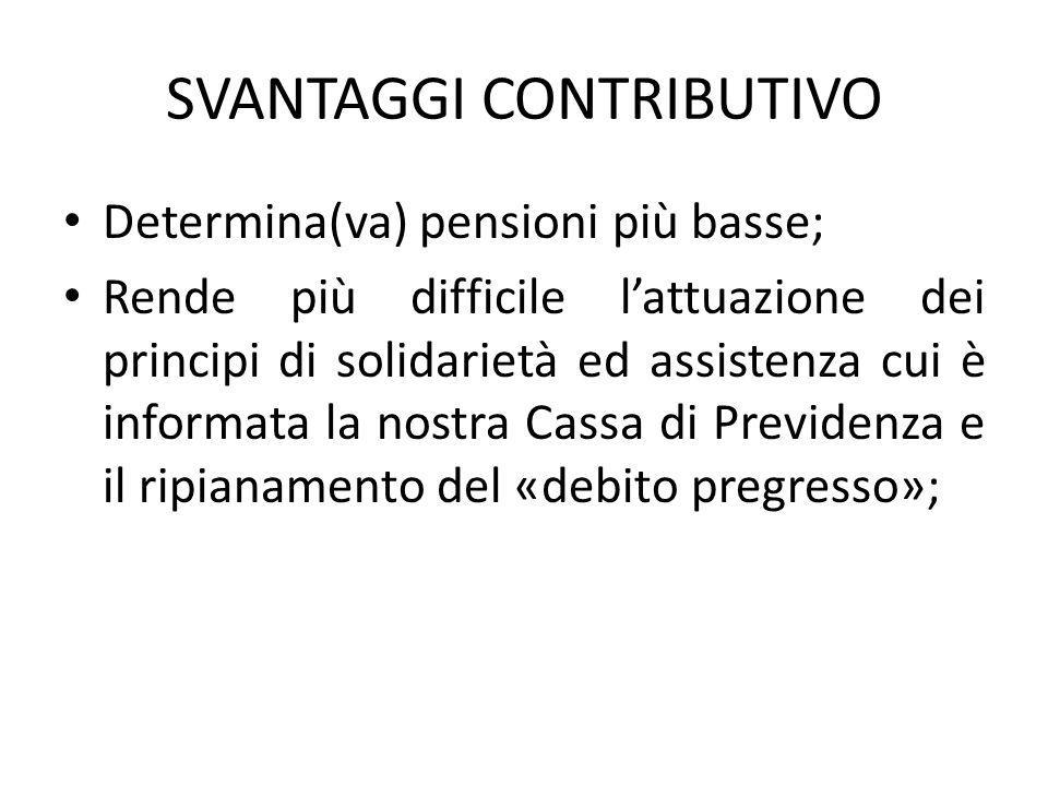 SVANTAGGI CONTRIBUTIVO Determina(va) pensioni più basse; Rende più difficile l'attuazione dei principi di solidarietà ed assistenza cui è informata la nostra Cassa di Previdenza e il ripianamento del «debito pregresso»;