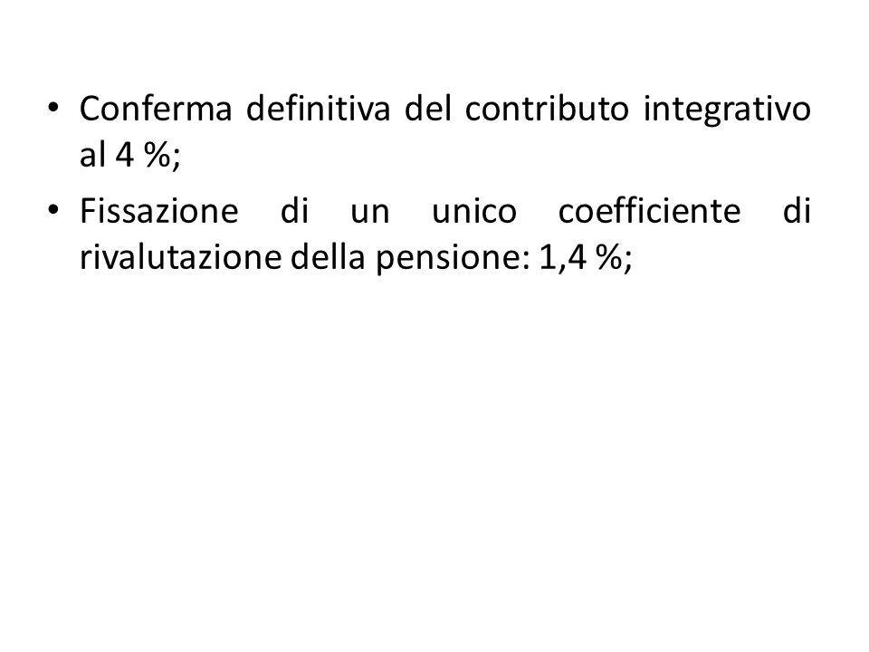 Conferma definitiva del contributo integrativo al 4 %; Fissazione di un unico coefficiente di rivalutazione della pensione: 1,4 %;