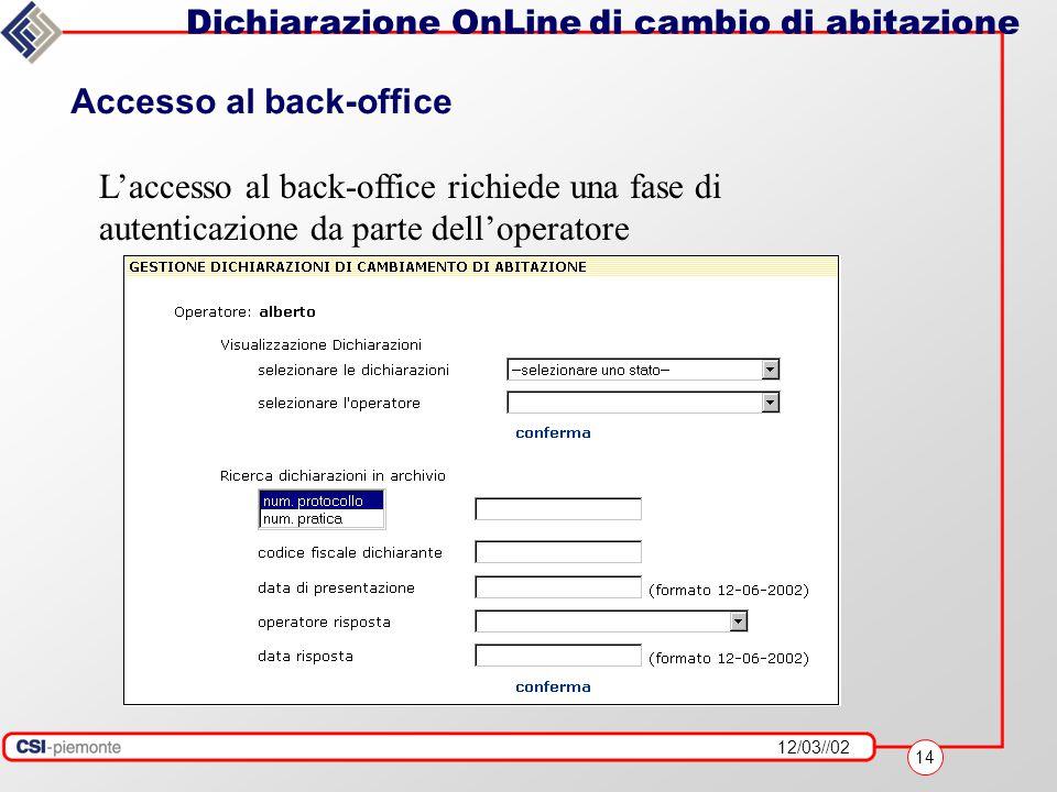 12/03//02 14 Dichiarazione OnLine di cambio di abitazione Accesso al back-office L'accesso al back-office richiede una fase di autenticazione da parte dell'operatore