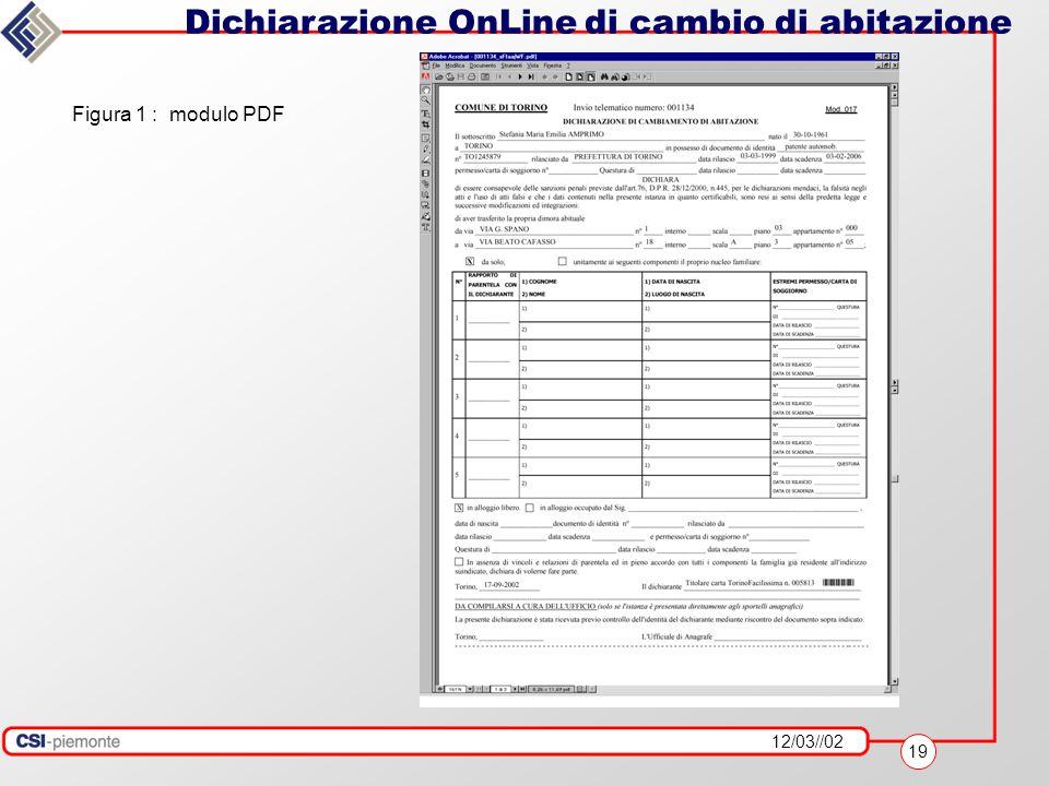 12/03//02 19 Dichiarazione OnLine di cambio di abitazione Figura 1 : modulo PDF
