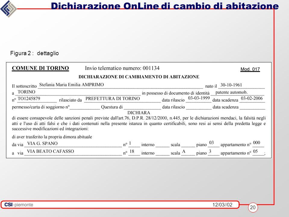 12/03//02 20 Dichiarazione OnLine di cambio di abitazione Figura 2 : dettaglio