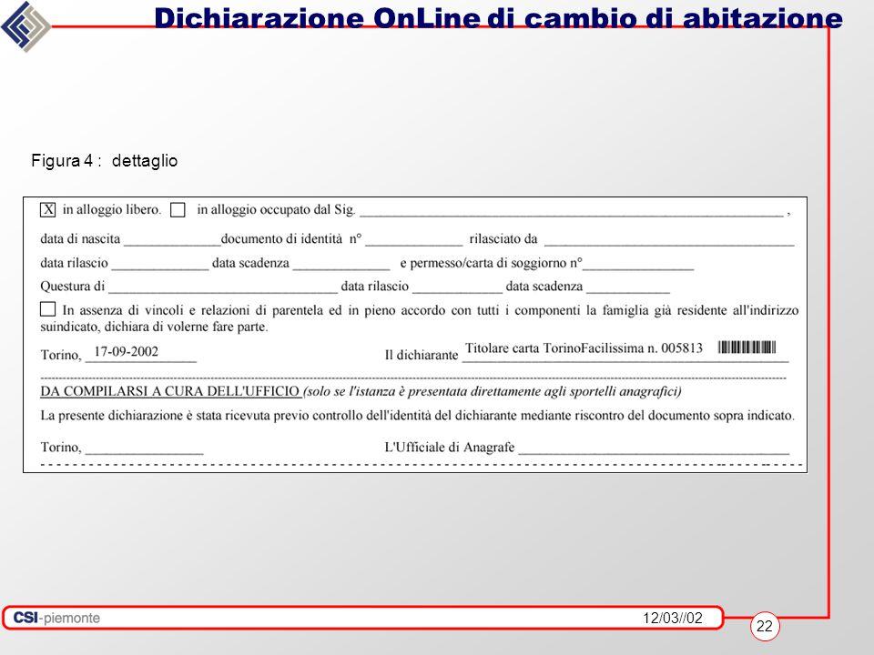 12/03//02 22 Dichiarazione OnLine di cambio di abitazione Figura 4 : dettaglio