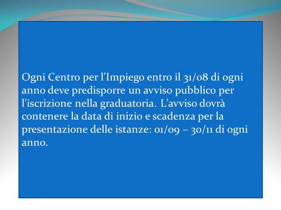 Ogni Centro per l'Impiego entro il 31/08 di ogni anno deve predisporre un avviso pubblico per l'iscrizione nella graduatoria.