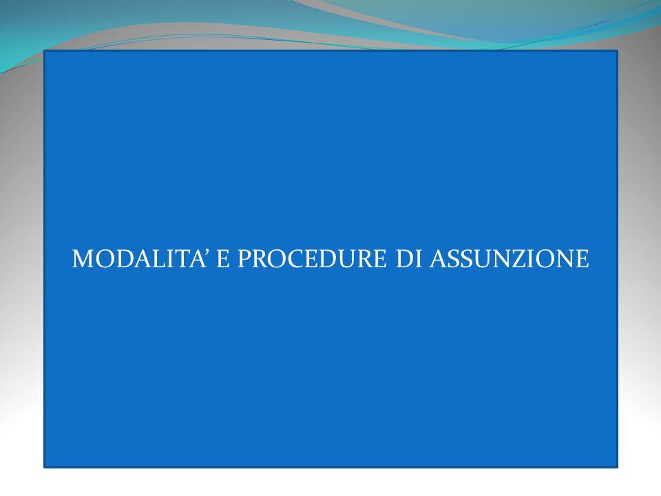 MODALITA' E PROCEDURE DI ASSUNZIONE