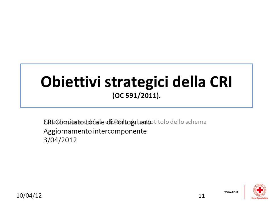 Fare clic per modificare lo stile del sottotitolo dello schema 10/04/12 Obiettivi strategici della CRI (OC 591/2011). CRI Comitato Locale di Portogrua