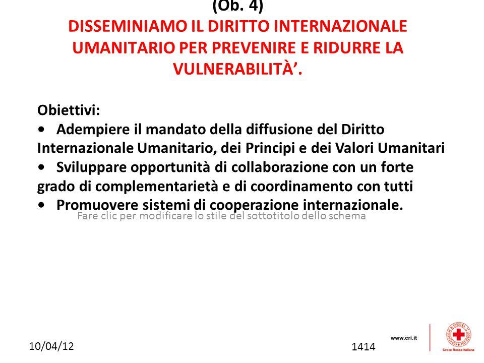 Fare clic per modificare lo stile del sottotitolo dello schema 10/04/12 (Ob. 4) DISSEMINIAMO IL DIRITTO INTERNAZIONALE UMANITARIO PER PREVENIRE E RIDU