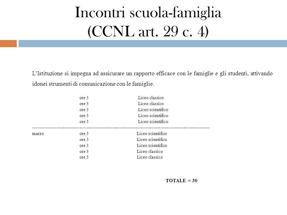 Incontri scuola-famiglia (CCNL art. 29 c. 4) L'Istituzione si impegna ad assicurare un rapporto efficace con le famiglie e gli studenti, attivando ido