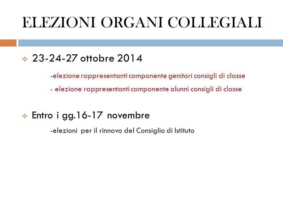 ELEZIONI ORGANI COLLEGIALI  23-24-27 ottobre 2014 -elezione rappresentanti componente genitori consigli di classe - elezione rappresentanti component