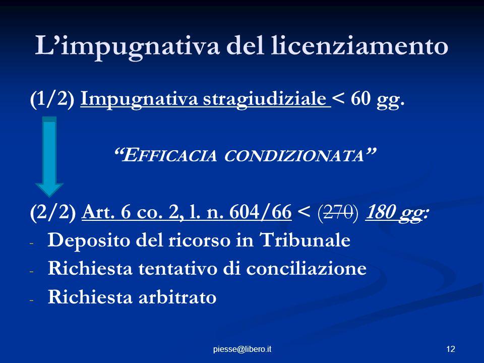 """12piesse@libero.it L'impugnativa del licenziamento (1/2) Impugnativa stragiudiziale < 60 gg. """"E FFICACIA CONDIZIONATA """" (2/2) Art. 6 co. 2, l. n. 604/"""