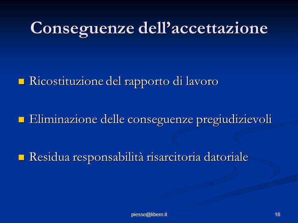 Conseguenze dell'accettazione Ricostituzione del rapporto di lavoro Ricostituzione del rapporto di lavoro Eliminazione delle conseguenze pregiudizievo