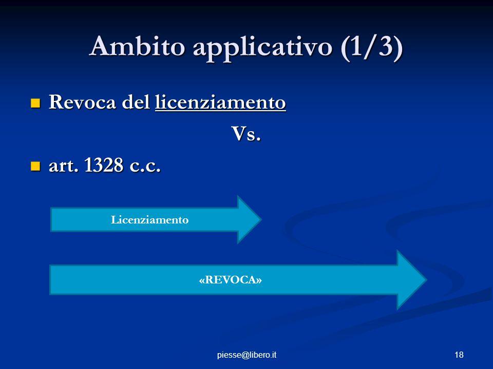 Ambito applicativo (1/3) Revoca del licenziamento Revoca del licenziamentoVs. art. 1328 c.c. art. 1328 c.c. 18piesse@libero.it Licenziamento «REVOCA»