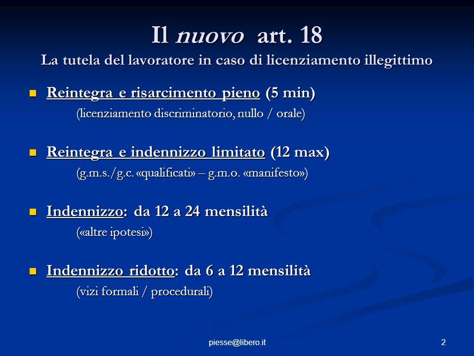 Il nuovo art. 18 La tutela del lavoratore in caso di licenziamento illegittimo Reintegra e risarcimento pieno (5 min) Reintegra e risarcimento pieno (