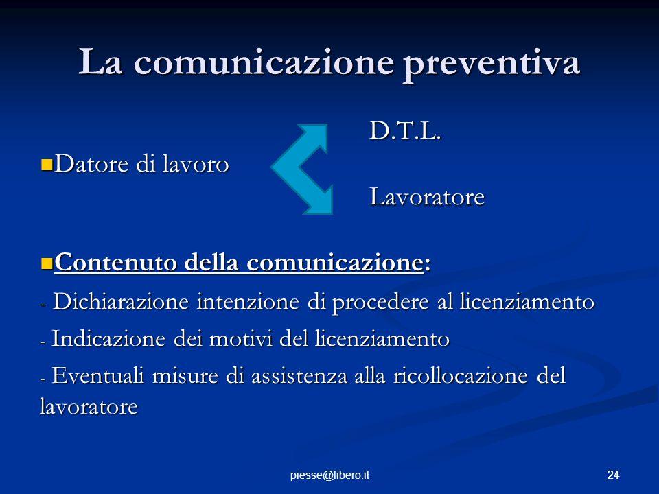 24piesse@libero.it La comunicazione preventiva D.T.L. Datore di lavoro Datore di lavoroLavoratore Contenuto della comunicazione: Contenuto della comun