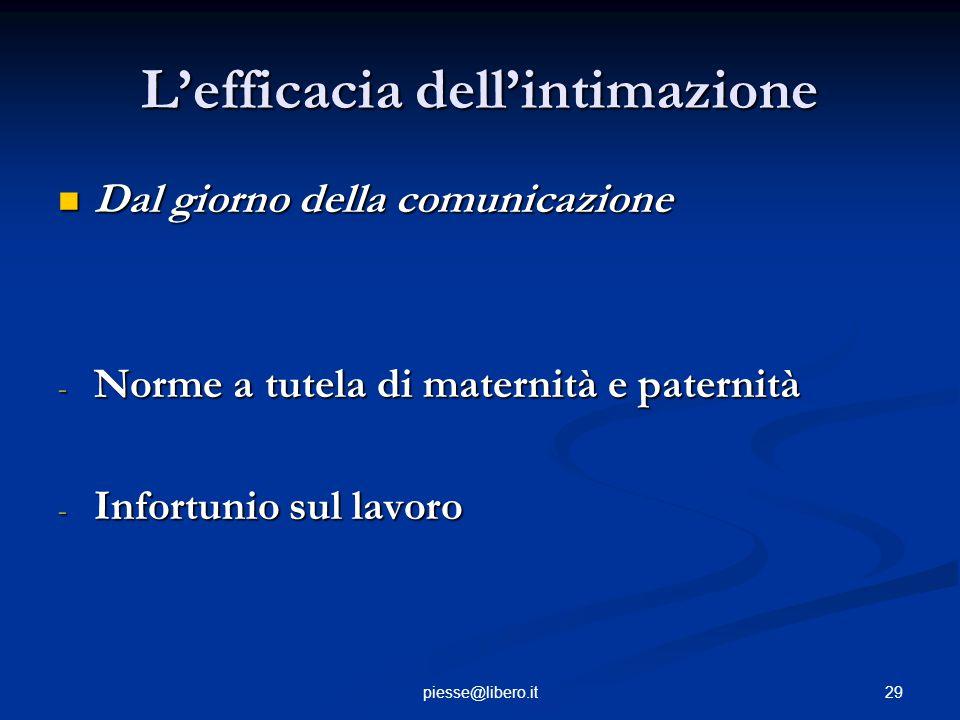 L'efficacia dell'intimazione Dal giorno della comunicazione Dal giorno della comunicazione - Norme a tutela di maternità e paternità - Infortunio sul
