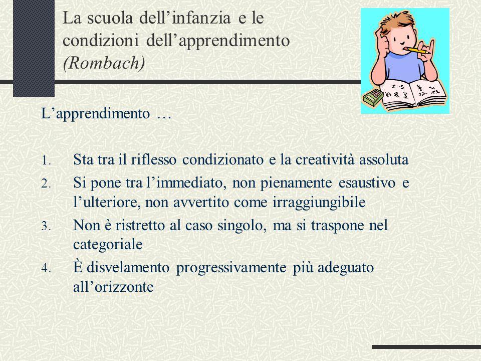 La scuola dell'infanzia e le condizioni dell'apprendimento (Rombach) L'apprendimento … 1.