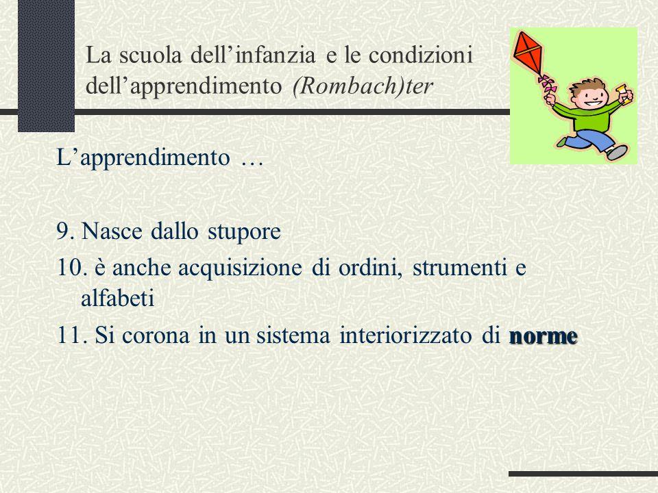 La scuola dell'infanzia e le condizioni dell'apprendimento (Rombach)ter L'apprendimento … 9.