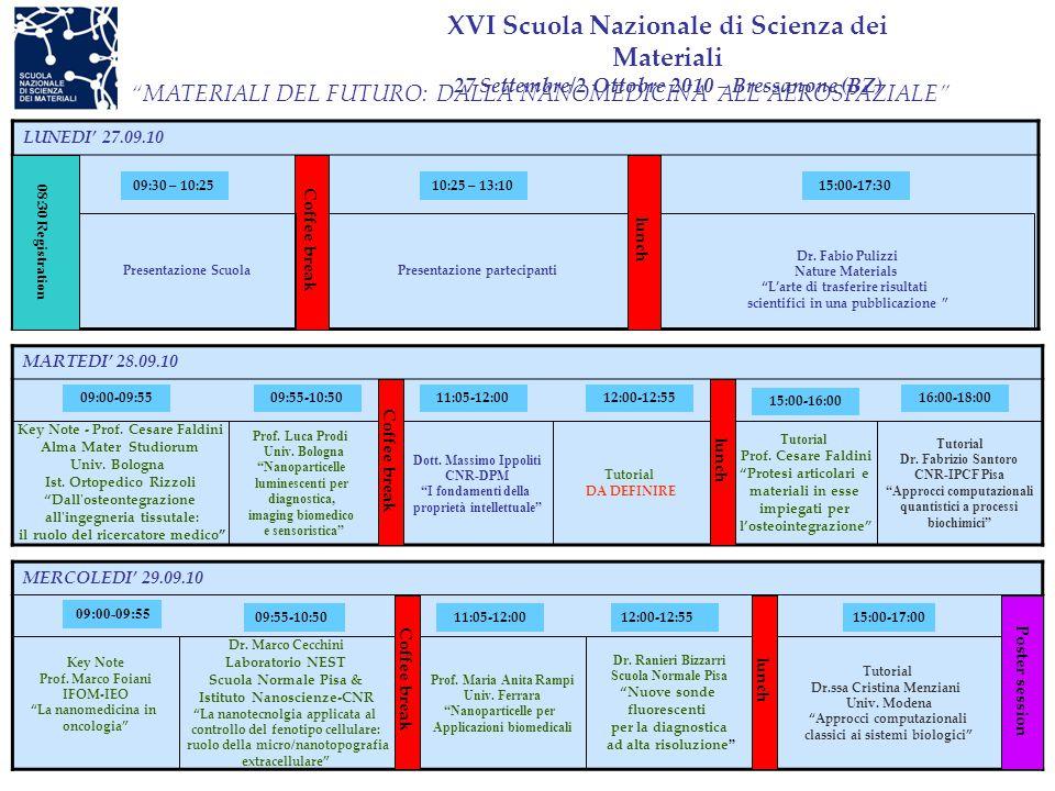 """XVI Scuola Nazionale di Scienza dei Materiali 27 Settembre/2 Ottobre 2010 – Bressanone (BZ) LUNEDI' 27.09.10 Dr. Fabio Pulizzi Nature Materials """"L'art"""