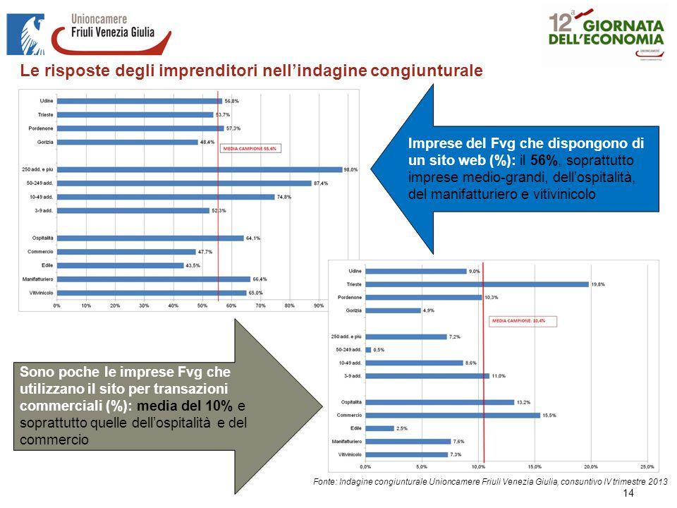 14 Fonte: Indagine congiunturale Unioncamere Friuli Venezia Giulia, consuntivo IV trimestre 2013 Imprese del Fvg che dispongono di un sito web (%): il 56%, soprattutto imprese medio-grandi, dell'ospitalità, del manifatturiero e vitivinicolo Sono poche le imprese Fvg che utilizzano il sito per transazioni commerciali (%): media del 10% e soprattutto quelle dell'ospitalità e del commercio Le risposte degli imprenditori nell'indagine congiunturale