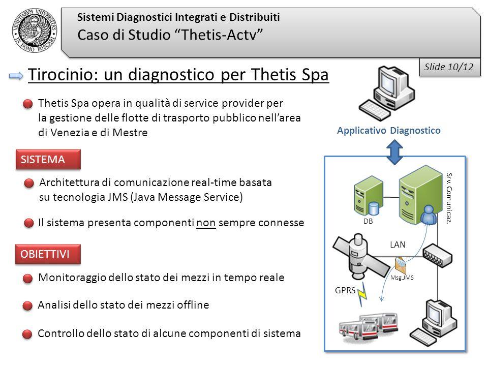"""Sistemi Diagnostici Integrati e Distribuiti Caso di Studio """"Thetis-Actv"""" Monitoraggio dello stato dei mezzi in tempo reale Analisi dello stato dei mez"""