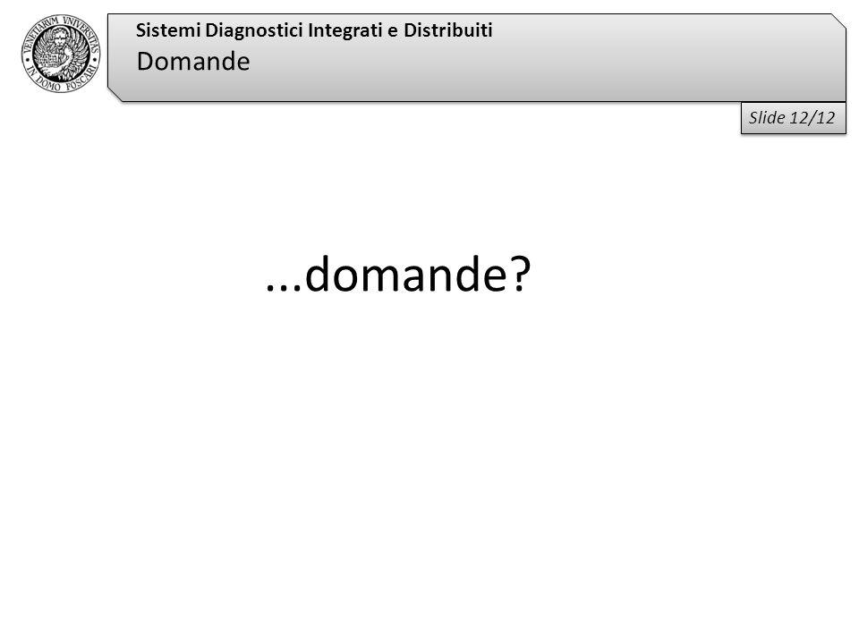 ...domande? Sistemi Diagnostici Integrati e Distribuiti Domande Slide 12/12