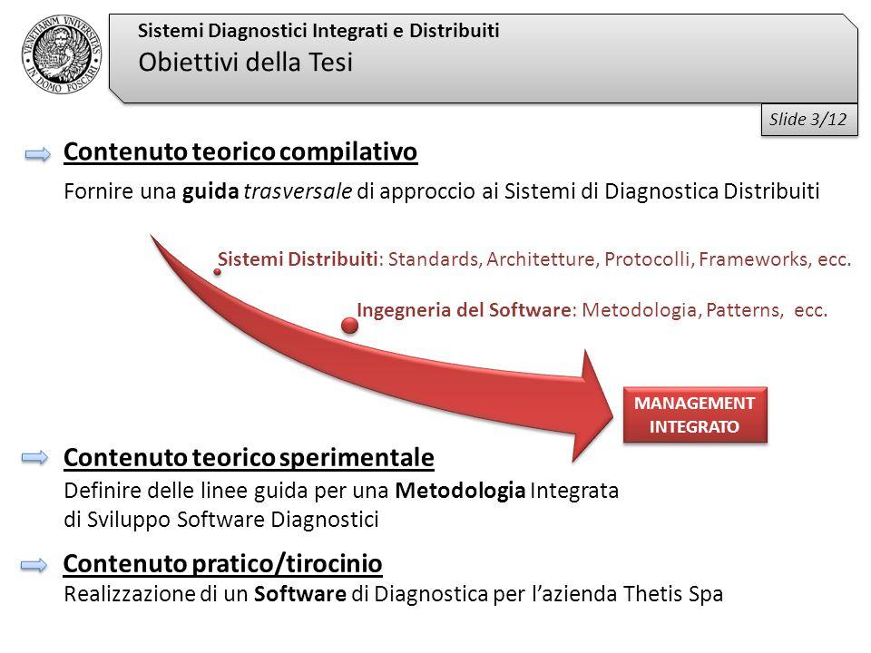 Fornire una guida trasversale di approccio ai Sistemi di Diagnostica Distribuiti Realizzazione di un Software di Diagnostica per l'azienda Thetis Spa Sistemi Diagnostici Integrati e Distribuiti Obiettivi della Tesi Ingegneria del Software: Metodologia, Patterns, ecc.