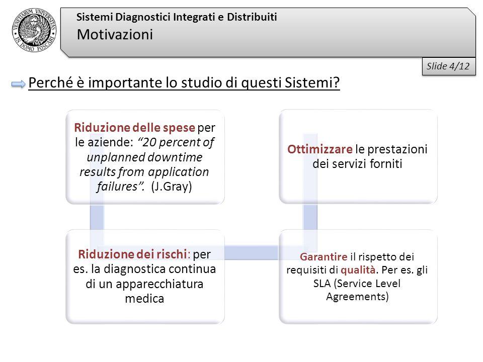 Sistemi Diagnostici Integrati e Distribuiti Motivazioni Perché è importante lo studio di questi Sistemi.