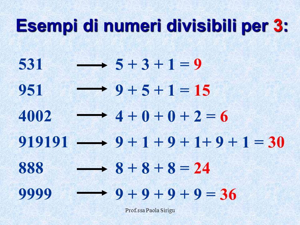 Prof.ssa Paola Sirigu Esempi di numeri divisibili per 3: 531 951 4002 919191 888 9999 5 + 3 + 1 = 9 9 + 5 + 1 = 15 4 + 0 + 0 + 2 = 6 9 + 1 + 9 + 1+ 9