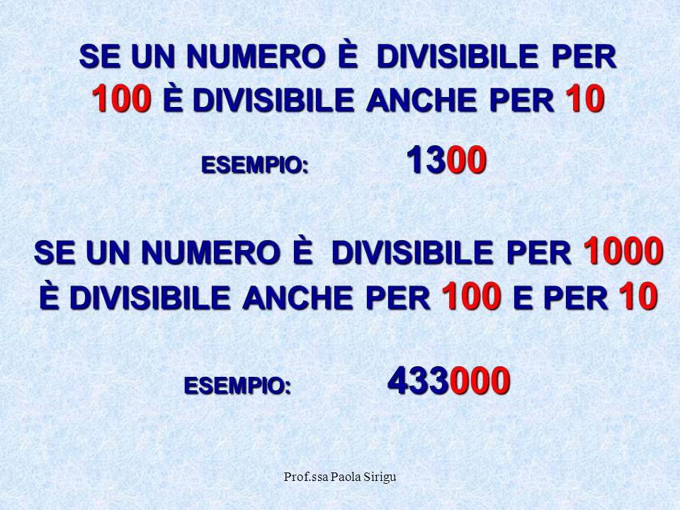 Prof.ssa Paola Sirigu SE UN NUMERO È DIVISIBILE PER 1000 È DIVISIBILE ANCHE PER 100 E PER 10 SE UN NUMERO È DIVISIBILE PER 100 È DIVISIBILE ANCHE PER