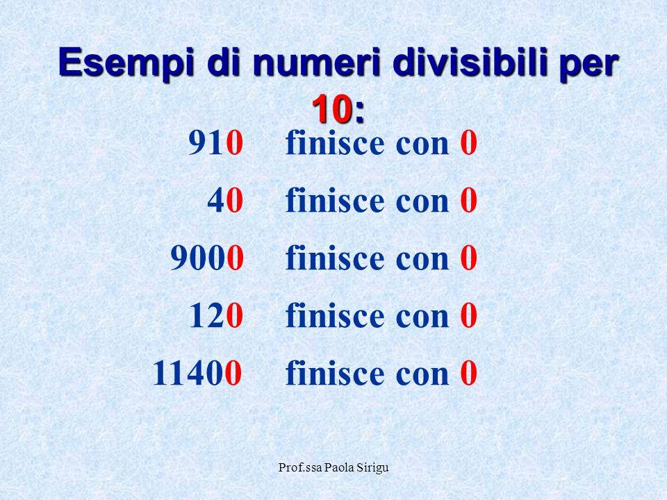 Prof.ssa Paola Sirigu 910finisce con 0 40finisce con 0 9000finisce con 0 120finisce con 0 11400finisce con 0 Esempi di numeri divisibili per 10: