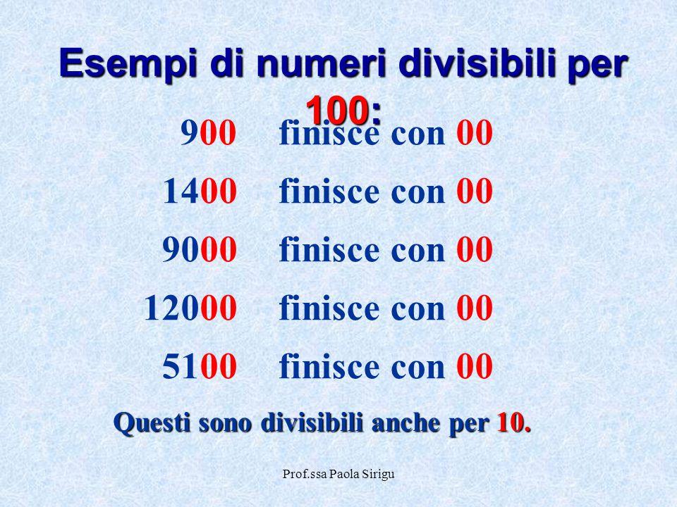 Prof.ssa Paola Sirigu 900finisce con 00 1400finisce con 00 9000finisce con 00 12000finisce con 00 5100finisce con 00 Esempi di numeri divisibili per 1