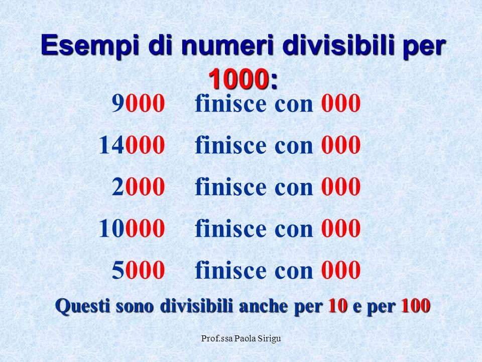 Prof.ssa Paola Sirigu 9000finisce con 000 14000finisce con 000 2000finisce con 000 10000finisce con 000 5000finisce con 000 Esempi di numeri divisibil