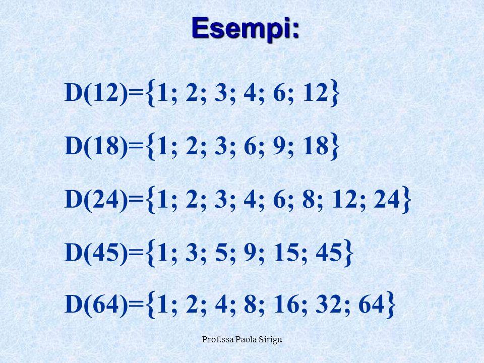 Prof.ssa Paola Sirigu Esempi: D(12)= { 1; 2; 3; 4; 6; 12 } D(18)= { 1; 2; 3; 6; 9; 18 } D(45)= { 1; 3; 5; 9; 15; 45 } D(24)= { 1; 2; 3; 4; 6; 8; 12; 2