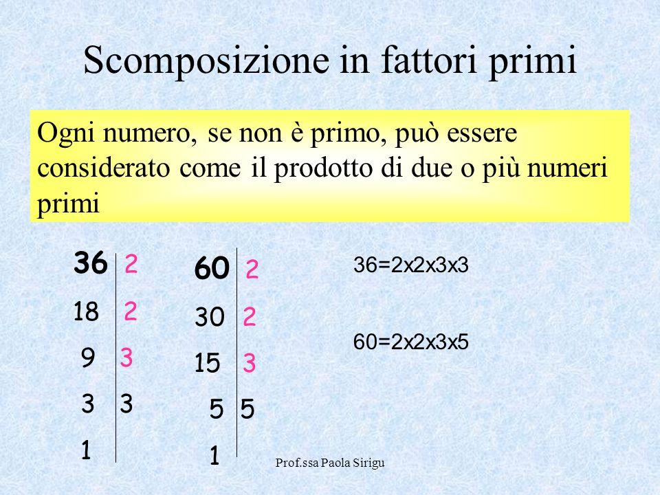 Prof.ssa Paola Sirigu Scomposizione in fattori primi Ogni numero, se non è primo, può essere considerato come il prodotto di due o più numeri primi 36
