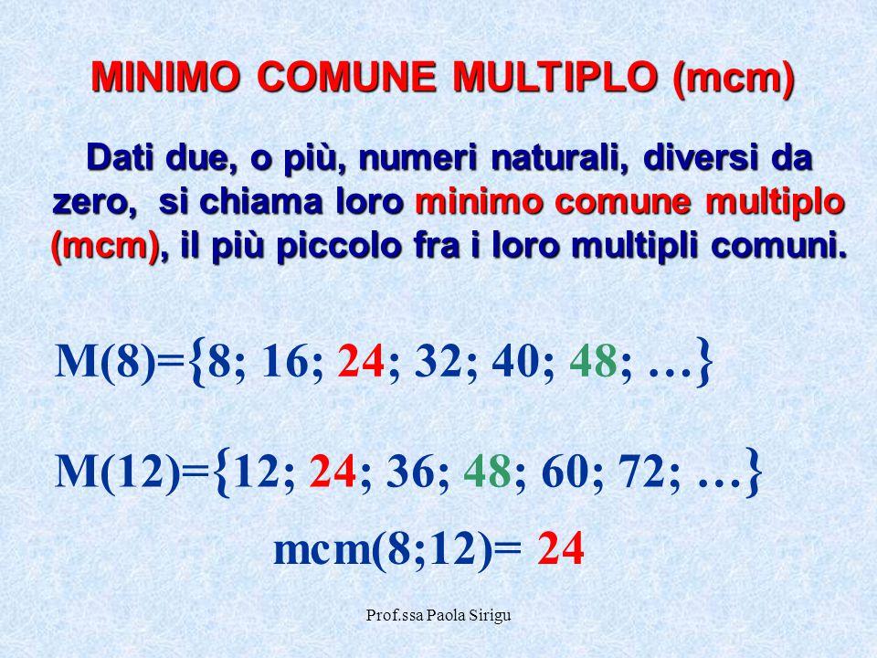 Prof.ssa Paola Sirigu MINIMO COMUNE MULTIPLO (mcm) Dati due, o più, numeri naturali, diversi da zero, si chiama loro minimo comune multiplo (mcm), il