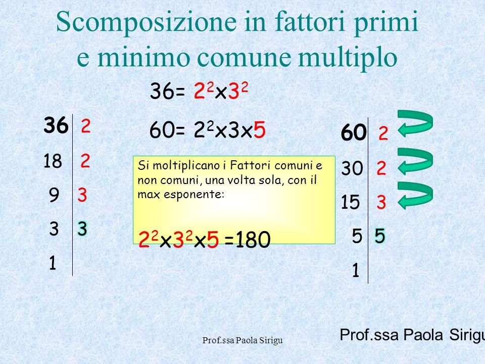 Prof.ssa Paola Sirigu Scomposizione in fattori primi e minimo comune multiplo Si moltiplicano i Fattori comuni e non comuni, una volta sola, con il ma