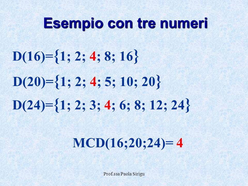 Prof.ssa Paola Sirigu D(20)= { 1; 2; 4; 5; 10; 20 } D(24)= { 1; 2; 3; 4; 6; 8; 12; 24 } MCD(16;20;24)= 4 D(16)= { 1; 2; 4; 8; 16 } Esempio con tre num