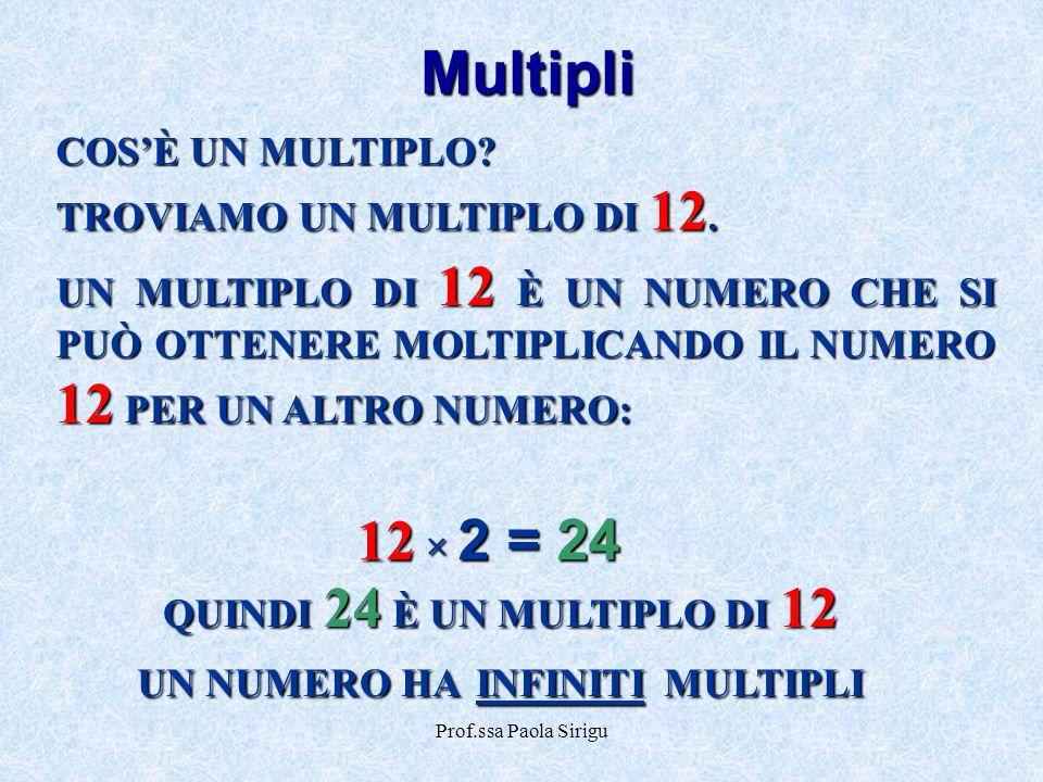 Prof.ssa Paola Sirigu Multipli COS'È UN MULTIPLO? TROVIAMO UN MULTIPLO DI 12. UN MULTIPLO DI 12 È UN NUMERO CHE SI PUÒ OTTENERE MOLTIPLICANDO IL NUMER