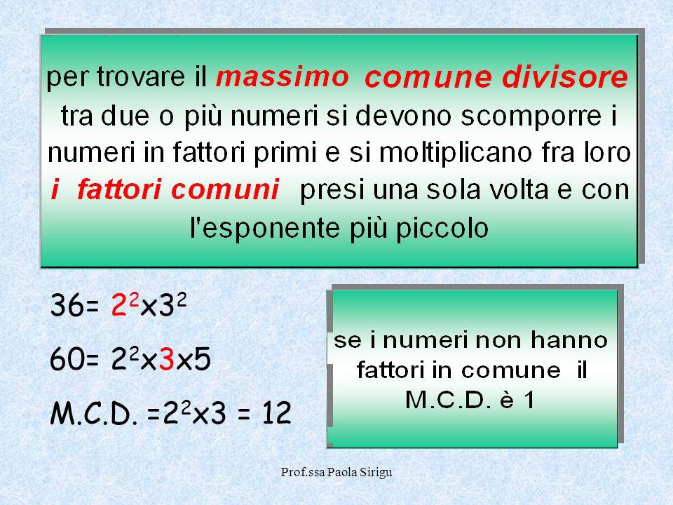 Prof.ssa Paola Sirigu 36= 2 2 x3 2 60= 2 2 x3x5 M.C.D. =2 2 x3 = 12