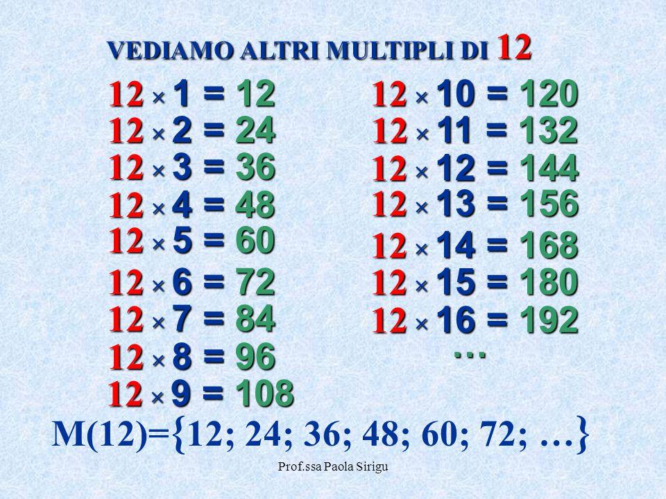 Prof.ssa Paola Sirigu VEDIAMO ALTRI MULTIPLI DI 12 M(12)= { 12; 24; 36; 48; 60; 72; … } 12 × 1 = 12 12 × 2 = 24 12 × 3 = 36 12 × 4 = 48 12 × 5 = 60 12