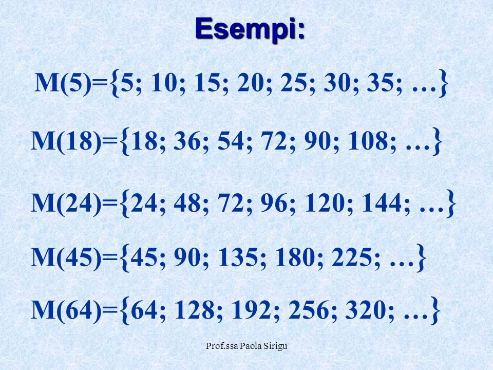 Prof.ssa Paola Sirigu Esempi: M(18)= { 18; 36; 54; 72; 90; 108; … } M(45)= { 45; 90; 135; 180; 225; … } M(64)= { 64; 128; 192; 256; 320; … } M(24)= {