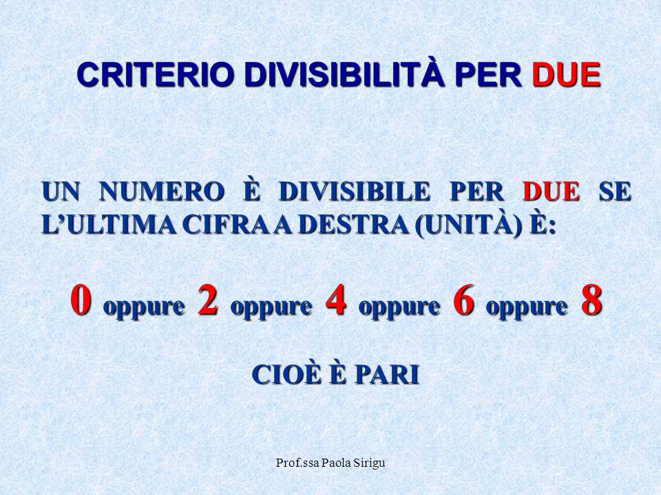 Prof.ssa Paola Sirigu CRITERIO DIVISIBILITÀ PER DUE UN NUMERO È DIVISIBILE PER DUE SE L'ULTIMA CIFRA A DESTRA (UNITÀ) È: 0 oppure 2 oppure 4 oppure 6