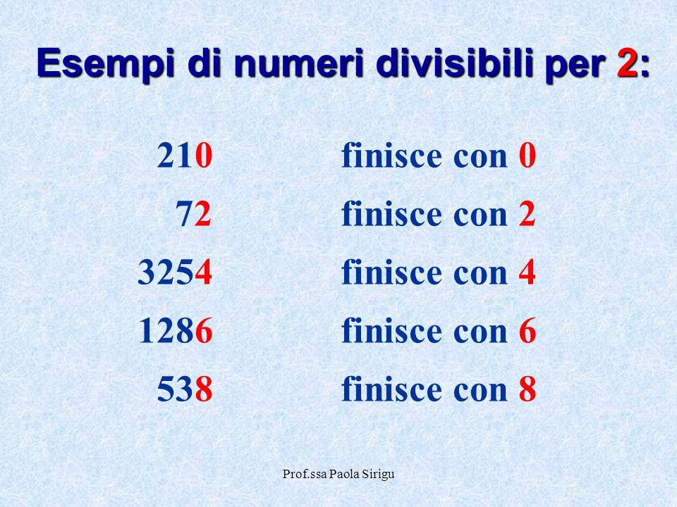 Prof.ssa Paola Sirigu 210finisce con 0 72finisce con 2 3254finisce con 4 1286finisce con 6 538finisce con 8 Esempi di numeri divisibili per 2:
