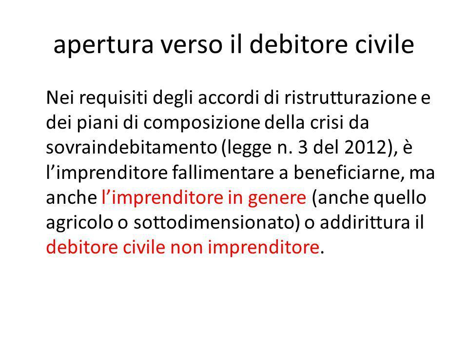 apertura verso il debitore civile Nei requisiti degli accordi di ristrutturazione e dei piani di composizione della crisi da sovraindebitamento (legge n.