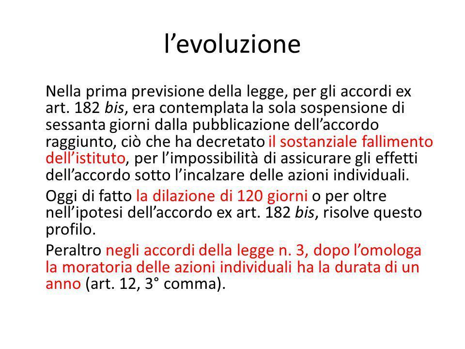 l'evoluzione Nella prima previsione della legge, per gli accordi ex art.
