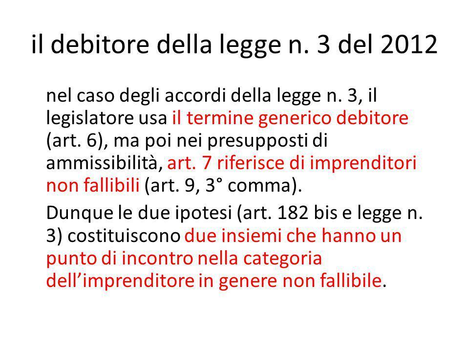 il debitore della legge n. 3 del 2012 nel caso degli accordi della legge n.